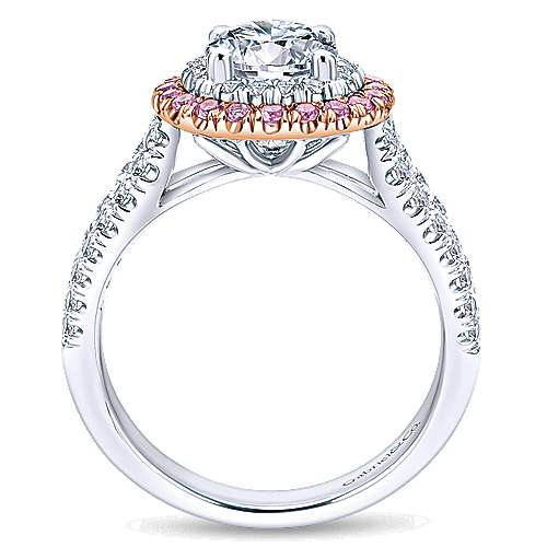 14k White/pink Gold Diamond Pink Sapphire Double Halo Engagement Ring angle 2