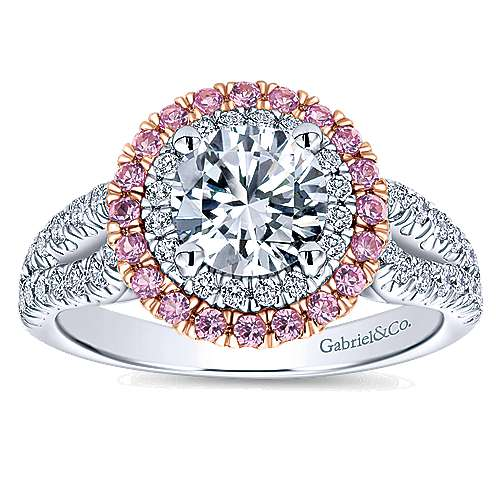 14k White/pink Gold Diamond Pink Sapphire Double Halo Engagement Ring angle 5