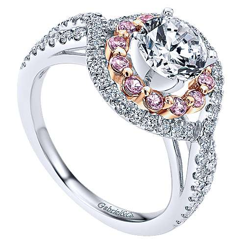 14k White/pink Gold Diamond Pink Sapphire Double Halo Engagement Ring angle 3