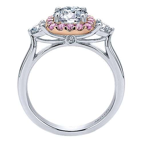 14k White/pink Gold Diamond Pink Sapphire Halo Engagement Ring angle 2