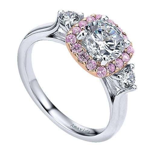 14k White/pink Gold Diamond Pink Sapphire Halo Engagement Ring angle 3