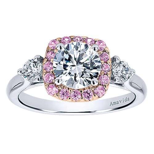 14k White/pink Gold Diamond Pink Sapphire Halo Engagement Ring angle 5