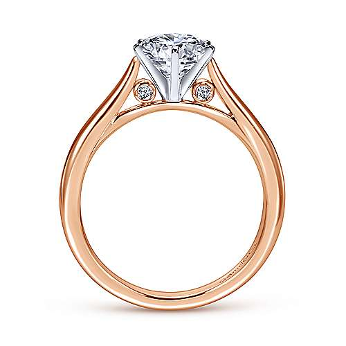 14k White/pink Gold Diamond Solitaire Engagement Ring angle 2
