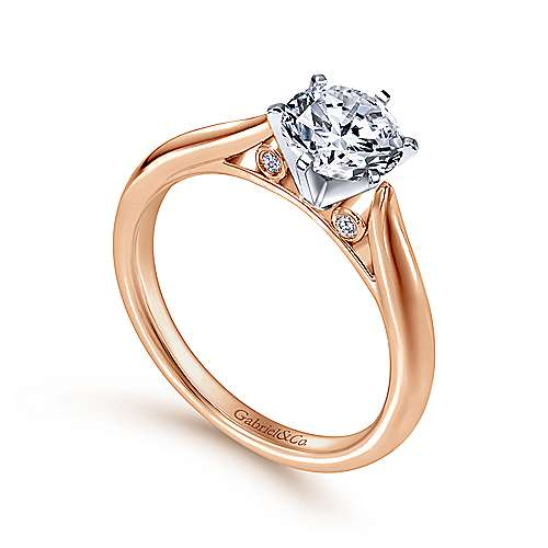 14k White/pink Gold Diamond Solitaire Engagement Ring angle 3