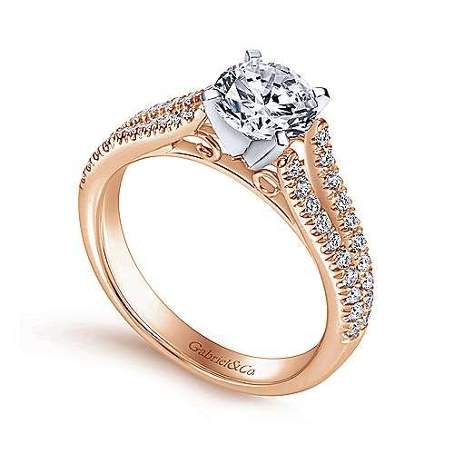 14k White/pink Gold Diamond Split Shank Engagement Ring angle 3