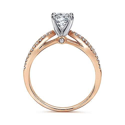 14k White/pink Gold Diamond Split Shank Engagement Ring angle 2
