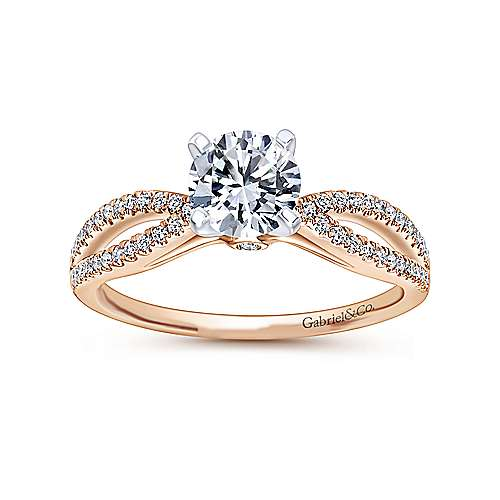 14k White/pink Gold Diamond Split Shank Engagement Ring angle 5