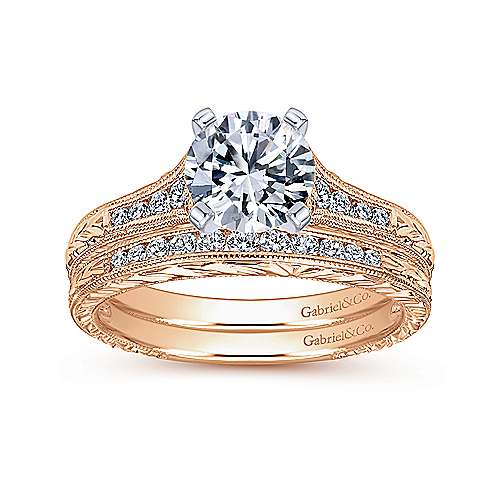 14k White/pink Gold Diamond Straight Engagement Ring angle 4