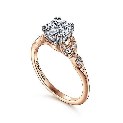 14k White/pink Gold Diamond Straight Engagement Ring angle 3