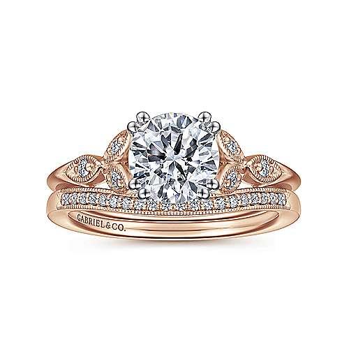 14k White/pink Gold Diamond Straight Engagement Ring angle 4