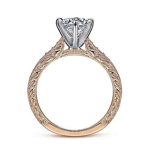 14k White/pink Gold Diamond Straight Engagement Ring angle 2