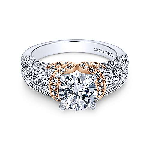 Gabriel - 14k White/pink Gold Empire Engagement Ring