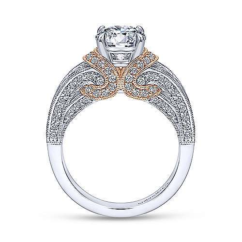 14k White/pink Gold Diamond Straight Engagement Ring angle 2