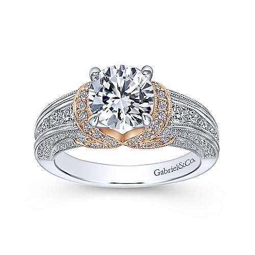14k White/pink Gold Diamond Straight Engagement Ring angle 5