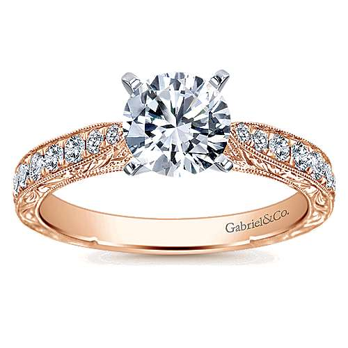 14k White/pink Gold Diamond Straight Engagement Ring angle 5