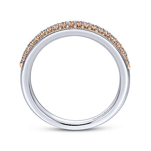 14k White/pink Gold Diamond Straight Wedding Band angle 2