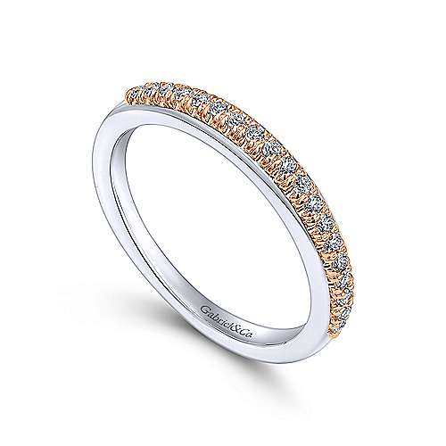 14k White/pink Gold Diamond Straight Wedding Band angle 3