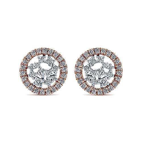 Gabriel - 14k White/pink Gold Lusso Diamond Stud Earrings