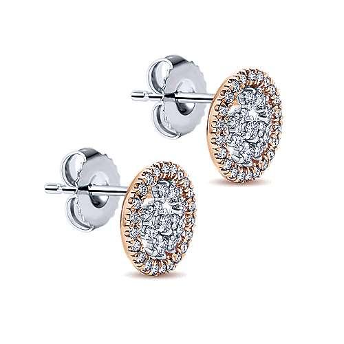 14k White/pink Gold Diamond Stud Earrings angle 2