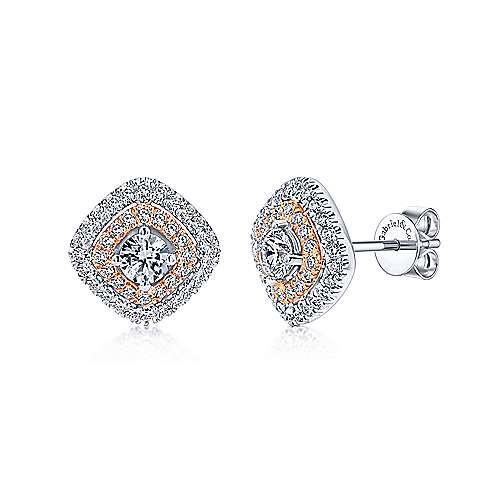 14k White/pink Gold Diamond Stud