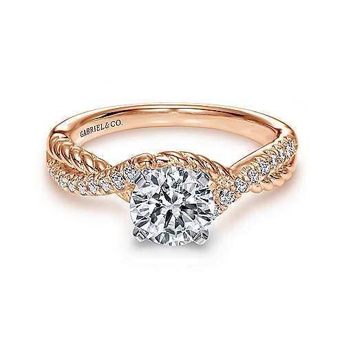 14k White/pink Gold Diamond Twisted Engagement Ring angle 1