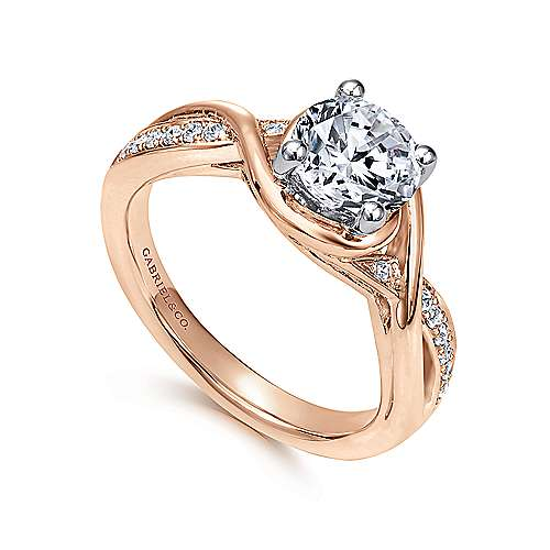 14k White/pink Gold Diamond Twisted Engagement Ring angle 3