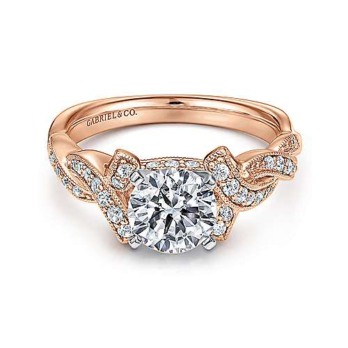 Gabriel - 14k White/pink Gold Victorian Engagement Ring