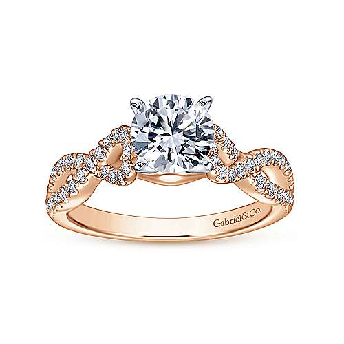 14k White/pink Gold Diamond Twisted Engagement Ring angle 5
