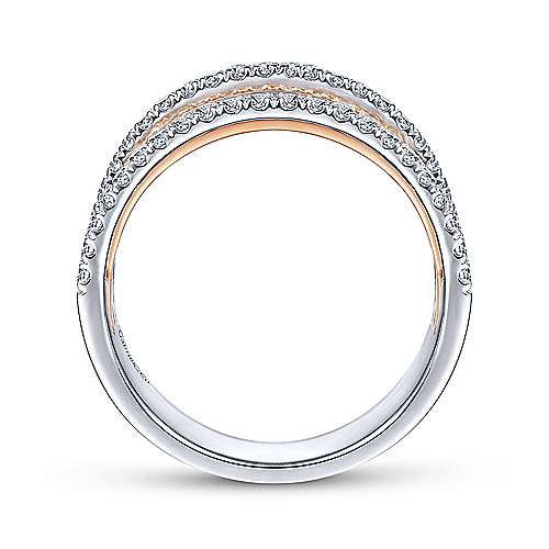 14k White/pink Gold Diamond Wide Band Ladies