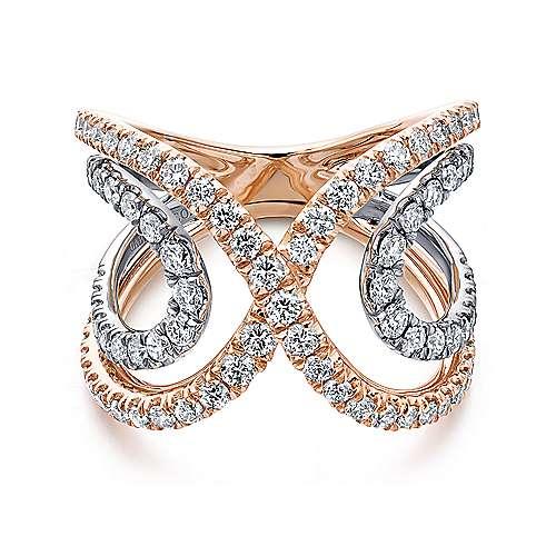 Gabriel - 14k White/pink Gold Lusso Diamond Wide Band Ladies' Ring