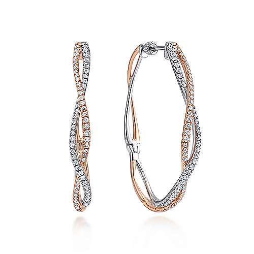Gabriel - 14k White/pink Gold Hoops Classic Hoop Earrings