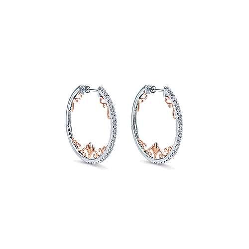 Gabriel - 14k White/pink Gold Hoops Intricate Hoop Earrings