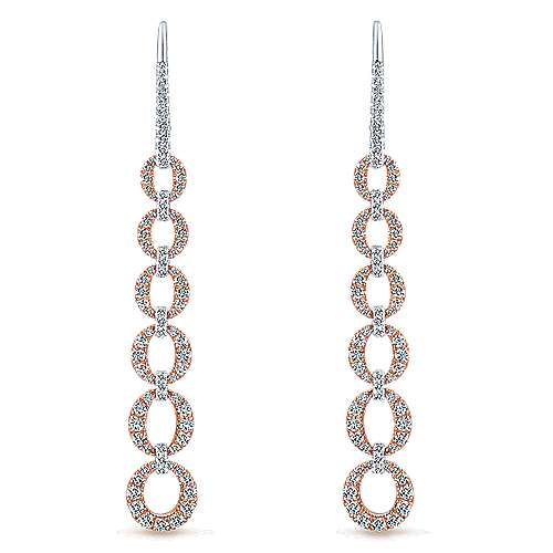 14k White/pink Gold Lusso Diamond  Drop Earrings angle 1