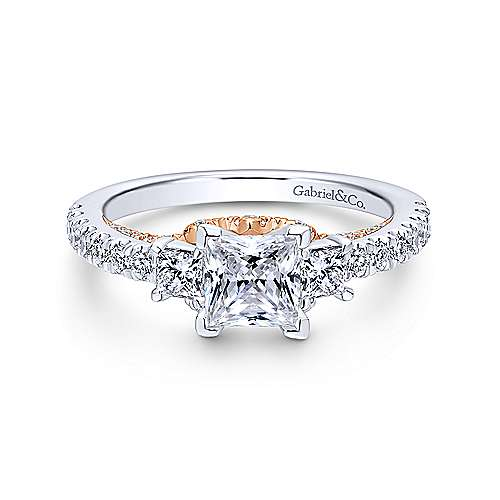Gabriel - 14k White/pink Gold Princess Cut 3 Stones Engagement Ring