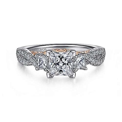 14k White/pink Gold Princess Cut 3 Stones