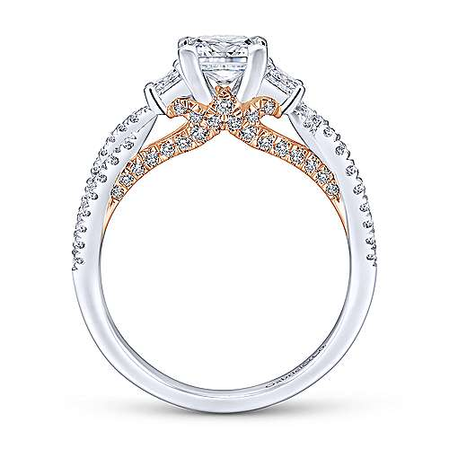14k White/pink Gold Princess Cut 3 Stones Engagement Ring angle 2