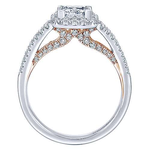14k White/pink Gold Princess Cut Halo Engagement Ring angle 2
