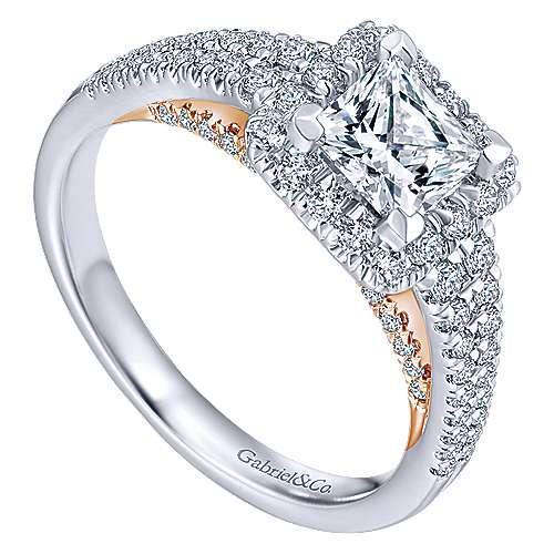 14k White/pink Gold Princess Cut Halo Engagement Ring angle 3