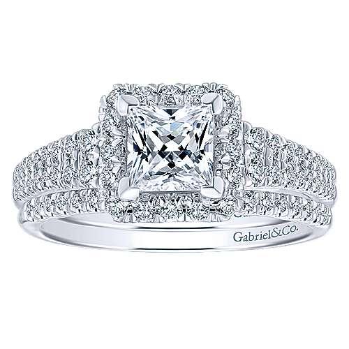 14k White/pink Gold Princess Cut Halo Engagement Ring angle 4