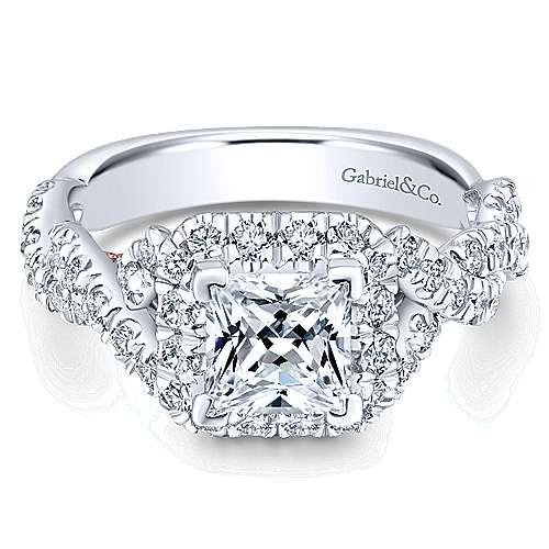 Gabriel - 14k White/pink Gold Princess Cut Halo Engagement Ring