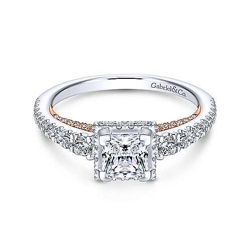 Gabriel - 14k White/pink Gold Princess Cut Straight Engagement Ring