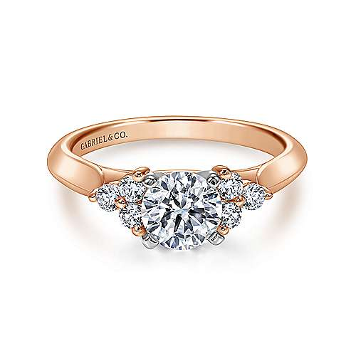Gabriel - 14k White/pink Gold Round 3 Stones Engagement Ring
