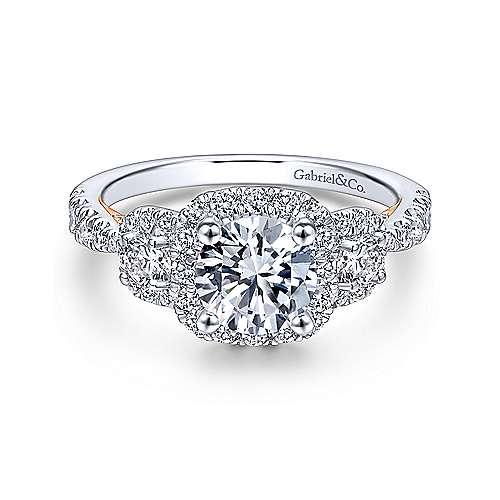 Gabriel - 14k White/pink Gold Round 3 Stones Halo Engagement Ring