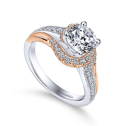 14k White/pink Gold Round Bypass Engagement Ring angle 3
