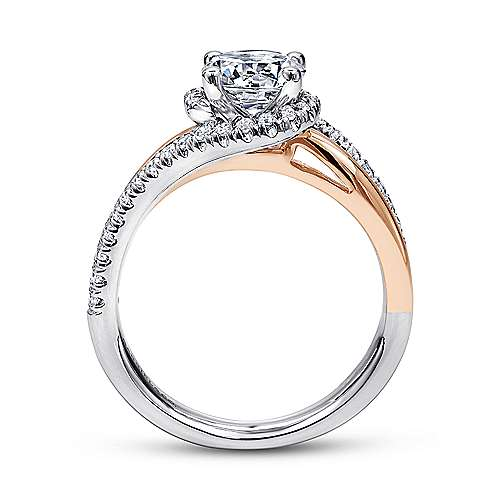 14k White/pink Gold Round Bypass Engagement Ring angle 2