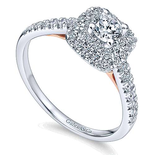 14k White/pink Gold Round Double Halo Engagement Ring angle 3