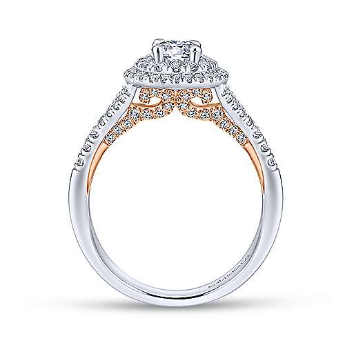 14k White/pink Gold Round Double Halo Engagement Ring angle 2