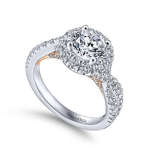 14k White/pink Gold Round Halo Engagement Ring angle 3