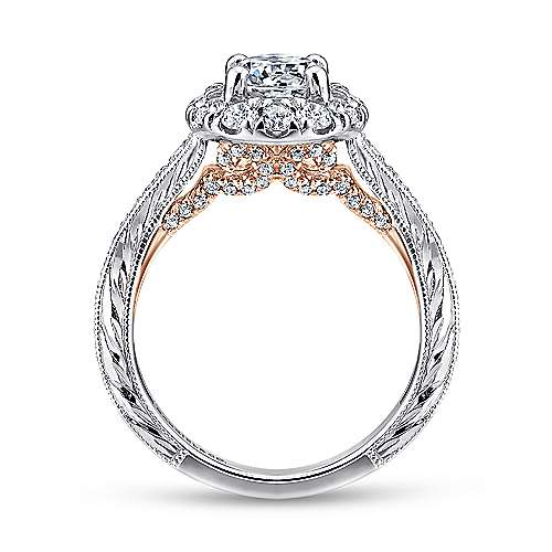 14k White/pink Gold Round Halo Engagement Ring angle 2
