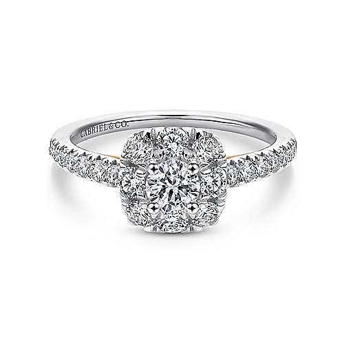 Gabriel - 14k White/pink Gold Round Halo Engagement Ring